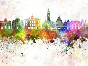 Lille Skyline in Watercolor Background by paulrommer