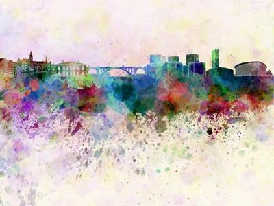 Luxembourg Skyline in Watercolor Background by paulrommer