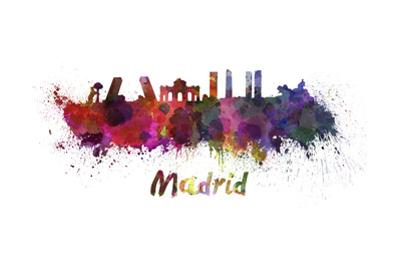 Madrid Skyline in Watercolor by paulrommer