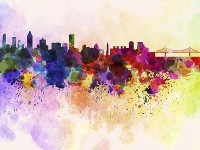 Montreal Skyline in Watercolor Background