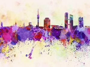 Munich Skyline in Watercolor Background by paulrommer