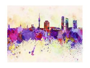 Munich Skyline in Watercolor Background by paulrommer