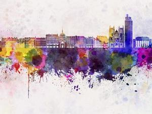 Nantes Skyline in Watercolor Background by paulrommer