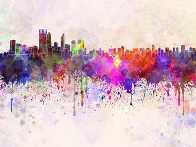 Perth Skyline in Watercolor Background by paulrommer
