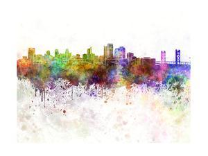 Sacramento Skyline in Watercolor Background by paulrommer
