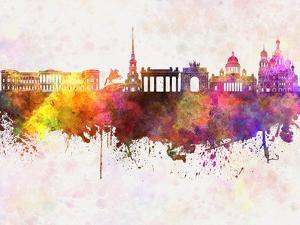 Saint Petersburg Skyline in Watercolor Background by paulrommer