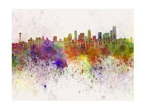 Seattle Skyline in Watercolor Background by paulrommer