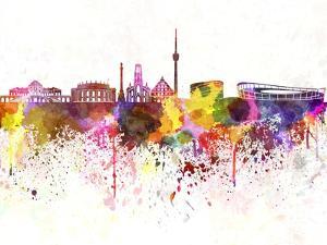 Stuttgart Skyline in Watercolor Background by paulrommer