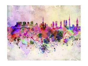 Tokyo Skyline in Watercolor Background by paulrommer