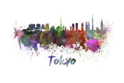 Tokyo Skyline in Watercolor by paulrommer