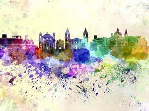 Valletta Skyline in Watercolor Background by paulrommer