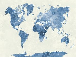 Affordable map posters for sale at allposters world map in watercolor blue by paulrommer gumiabroncs Choice Image