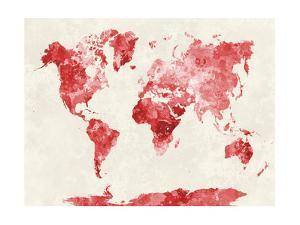 World Map in Watercolor Red by paulrommer