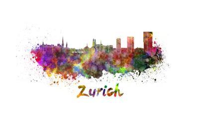 Zurich Skyline in Watercolor by paulrommer