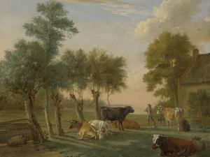Cows in a Meadow Near a Farm, Paulus Potter by Paulus Potter