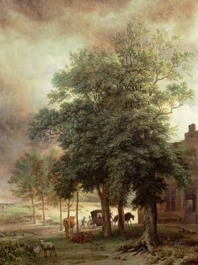 Landscape with Carriage or House Beyond the Trees by Paulus Potter