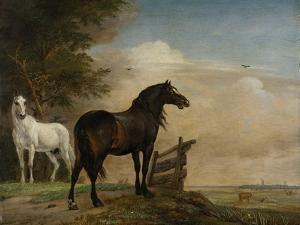Two Horses in a Meadow Near a Gate by Paulus Potter