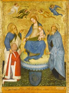 Virgin and Child Crowned by Angels, with St John the Evangelist, St Anthony Abbot, and Donor, 1400 by Pavian School