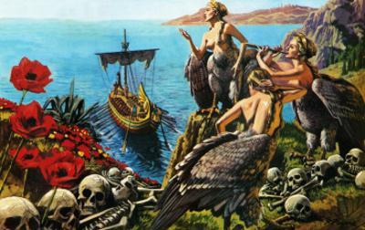 Sirens Attempting to Seduce Odysseus