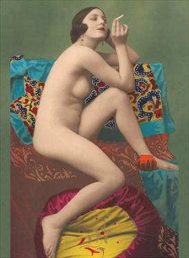 Le Fumeur (The Smoker) - Classic Vintage French Nude - Hand-Colored Tinted Erotic Art by PC Paris Studio