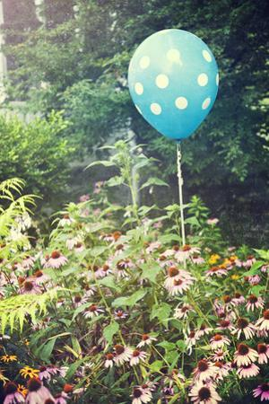 Cheerful Polka Dot Balloon Is an Unexpected Accent in a Flower Garden by pdb1