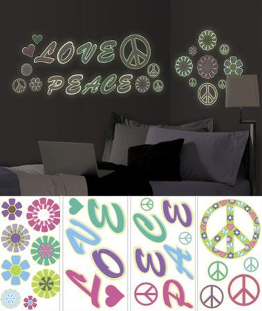 Peace Love Flowers Wall Decal Sticker Appliques