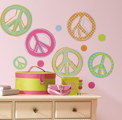 Peace Signs Peel & Stick Wall Decals W/Glitter