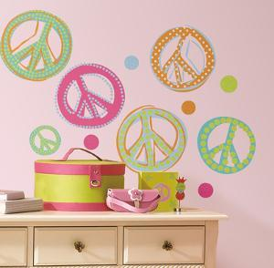 Peace Signs Peel & Stick Wall Decals W/Glitter