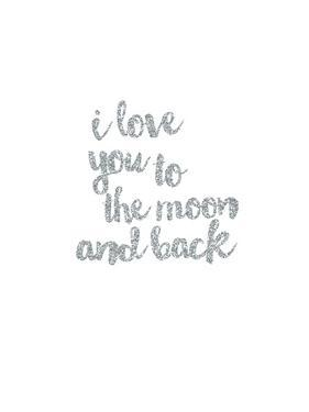 I love You to the Moon & Back Silver by Peach & Gold