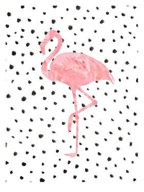 Pink Flamingo on Polka Dots by Peach & Gold