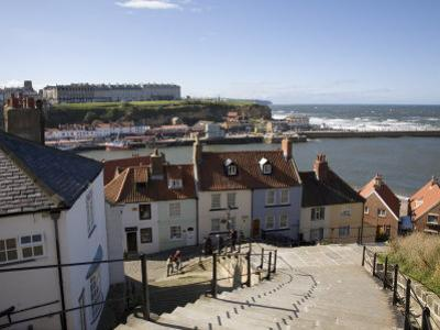 Old Town and River Esk Harbour from Steps on East Cliff, Whitby, North Yorkshire by Pearl Bucknall