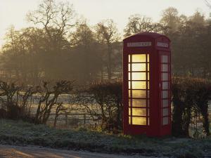 Red Telephone Box on a Frosty Morning, Snelston, Hartington, Derbyshire, England, UK by Pearl Bucknall
