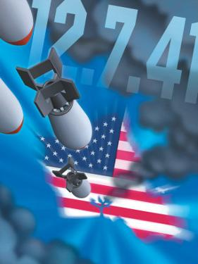 """Pearl Harbor Day, Bombs Dropping on an American Flag, """"12.7.41"""""""