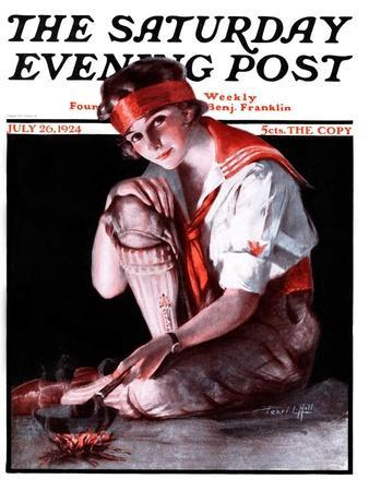 """""""Campfire Girl,"""" Saturday Evening Post Cover, July 26, 1924"""
