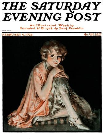 """""""Pensive Woman,"""" Saturday Evening Post Cover, February 9, 1924"""