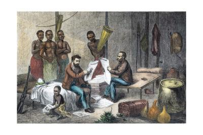 Livingstone and Stanley receiving newspapers in Central Africa, 1871-1873