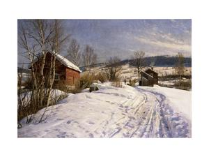 A Winter Landscape, Lillehammer by Peder Mork Monsted