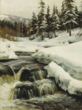 A Winter Landscape with a Mountain Torrent, 1916 by Peder Mork Monsted