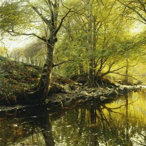 A Wooded River Landscape, 1910 by Peder Mork Monsted