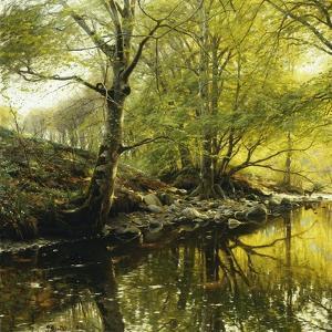 A Wooded River Landscape, 1910 by Peder Mork Monsted