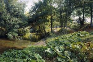 A Wooded River Landscape with Deer Beyond, 1904 by Peder Mork Monsted