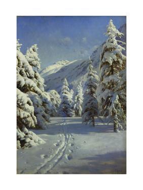 A Wooded Winter Landscape, Mortaratsch by Peder Mork Monsted