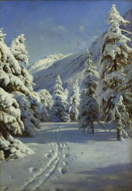 A Wooded Winter Landscape, Mortaratsch by Peder Mork Monsted