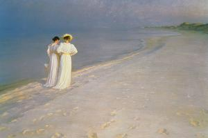 Summer Evening on the Skagen Southern Beach with Anna Ancher and Marie Kroyer, 1893 by Peder Severin Kr?yer