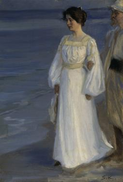 Marie Kroyer on the Beach by Peder Severin Kröyer