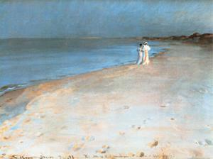 Summer Evening at the South Beach, Skagen, c.1893 by Peder Severin Kröyer