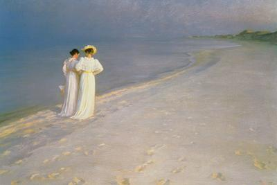 Summer Evening on the Skagen Southern Beach with Anna Ancher and Marie Kroyer, 1893 by Peder Severin Kröyer