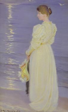 Woman in White on a Beach, 1893 by Peder Severin Kröyer