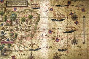 Map of Brazil, from Miller Atlas, Lopo Homen, Cartographers and Antonio De Holanda by Pedro and Jorge Reinel