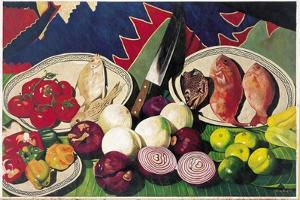 Fishes with Knife, Lemons and Vegetables, 2005 by Pedro Diego Alvarado